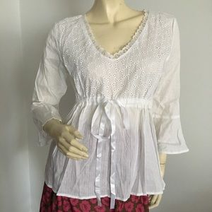 NWT Chenault white eyelet top with trumpet sleeves